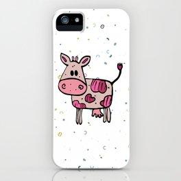 Fun pink hand drawn cow iPhone Case