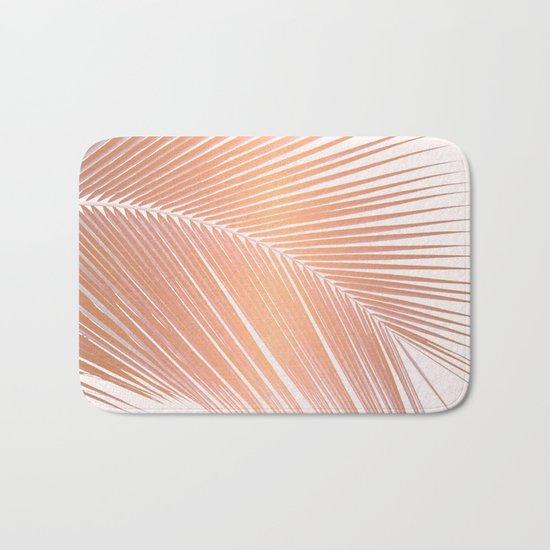 Palm leaf - copper pink Bath Mat