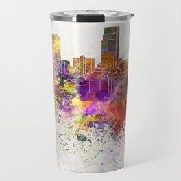 Omaha skyline in watercolor background Travel Mug