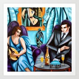 'Lovers Serenade' Art Deco Haute Couture Lost Generation portrait painting by Tamara de Lempicka Art Print