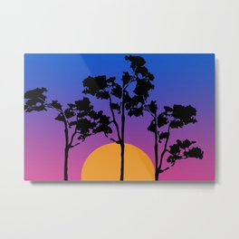 African Landscape - Trees and Sun pink blue Metal Print