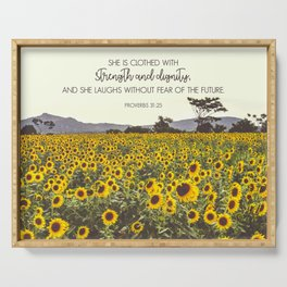 Proverbs and Sunflowers Serving Tray