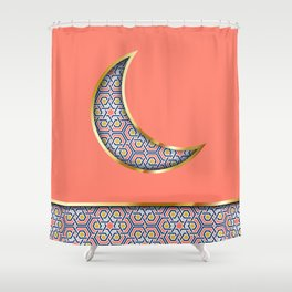 Patterned crescent on living coral pink Shower Curtain