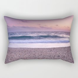 """Serenity sea"". Purple sunset at the beach Rectangular Pillow"