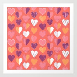 Living Coral Patch Boro Embroidery Hearts Art Print