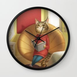 A cat reading a book Wall Clock