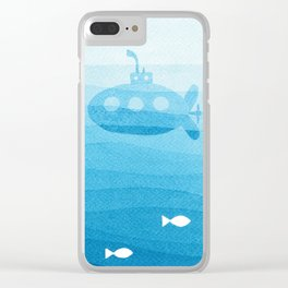 submarine, blue watercolor Clear iPhone Case