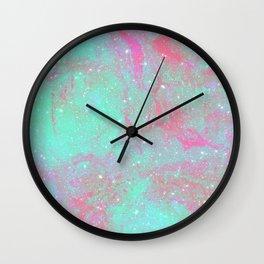 Teal Pink Marble Stars Wall Clock