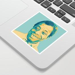 James Baldwin Portrait Teal Gold Blue Sticker