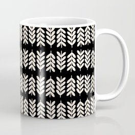 Leaves and Stems 2 Botanical Pattern in Almond Cream and Black Coffee Mug