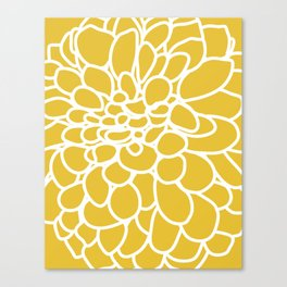 Mustard Yellow Modern Dahlia Flower Canvas Print