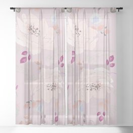 Watercolor blooming roses, tulips, and leaves contrast pinks Sheer Curtain