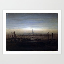 Caspar David Friedrich Greifswald in Moonlight Art Print