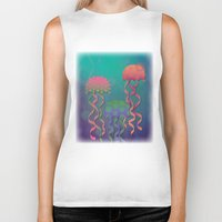 polka dot Biker Tanks featuring Polka Dot Jellyfish by Graphic Tabby