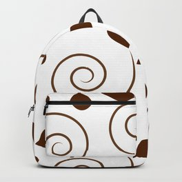 Brown Floral Swirl Pattern Backpack