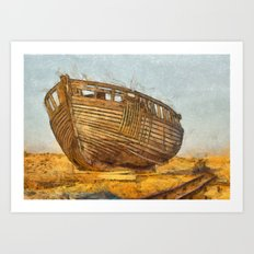 Painted Boat Dungeness Art Print
