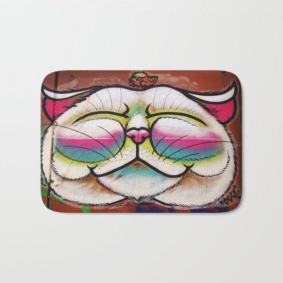 Smiling Cat & Bird Bath Mat