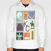 kansas Hoodies featuring Kansas City Landmark Print by Jenna Davis Designs