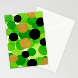 Lime Green Watercolor Bubbles Stationery Cards