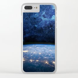 Earth and Galaxy Clear iPhone Case