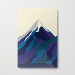 Mount Everest in Blue Metal Print