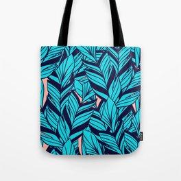Blue Banana Leaf Pattern Tote Bag