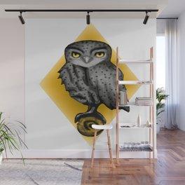 Yellow owl Wall Mural
