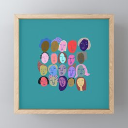Faces in teal Framed Mini Art Print