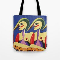 sisters Tote Bags featuring Sisters by billARTS