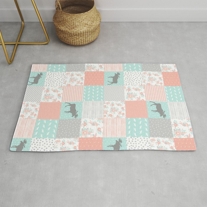 Modern quilt pattern square quilt baby nursery gender neutral gifts for new  baby room Rug by charlottewinter