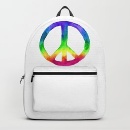 Rainbow Watercolor Peace Sign Backpack