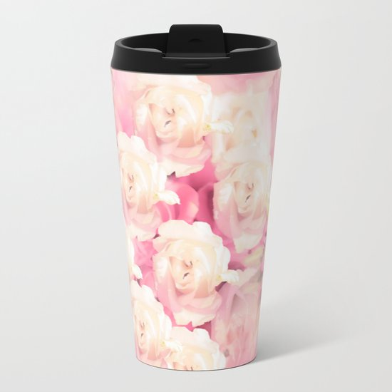 White and pink flowers in summer romance - vintage style Metal Travel Mug