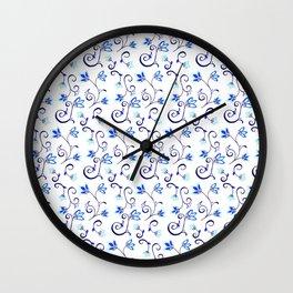 Deflt Blue Ditzy Floral Wall Clock