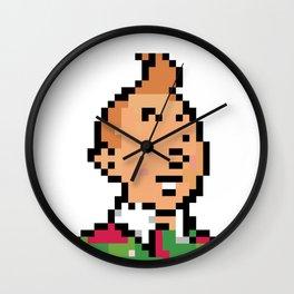 Low res Tin Tin Christmas pixelart 8 Bit Mosaic  Wall Clock