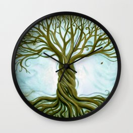 Blue and Brown Swirly Tree of Life by Renee Womack Wall Clock