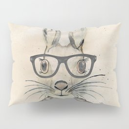 Cute funny watercolor bunny with glasses and scarf hand paint Pillow Sham