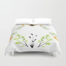 Bees in the Garden - Watercolor Graphic Duvet Cover