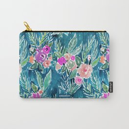NAVY PARADISE FLORAL Tropical Hibiscus Palm Pattern Carry-All Pouch