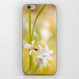 White flower with ladybug iPhone Skin
