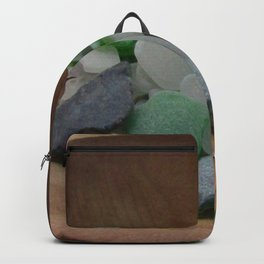 Green and White Sea Glass Backpack