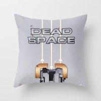 dead space Throw Pillows featuring Dead Space by Spiritius