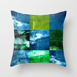 Blue green square Throw Pillow