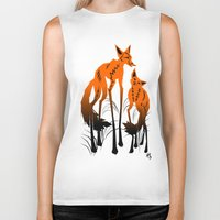 foxes Biker Tanks featuring Foxes by AmKiLi