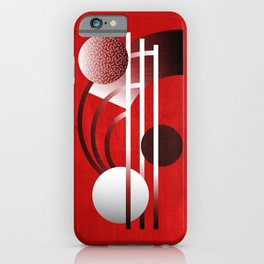 Mid Century Modern Abstract // Red, Black and White // Watercolor Texture iPhone Case