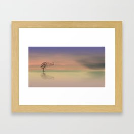 Solo Tree with Birds flying Away Framed Art Print