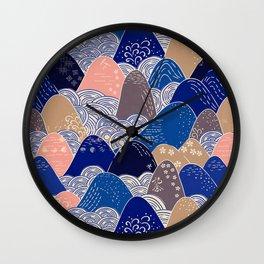 Vintage Japanese Pattern: Interpretive Ocean Waves Wall Clock