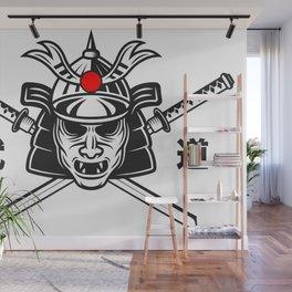 Samurai Mask Two Katana Wall Mural