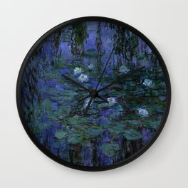 Blue Water Lilies Monet 1916- 1919 Wall Clock