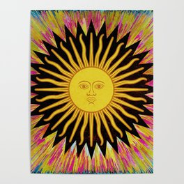 Psychedelic Sun Star Poster