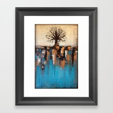 Abstract Tree - Teal and Brown Landscape Painting Framed Art Print